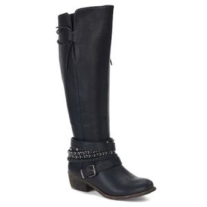 SO | 'Message' Black Knee High Buckle Riding Boots